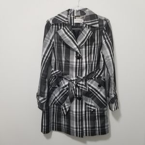 HILARY RADLEY Plaid Raincoat Trench Coat Black